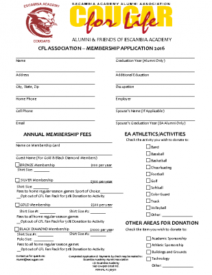 CFL MEMBERSHIP APPLICATION