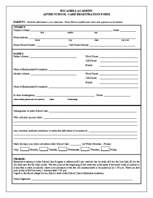 After School Care Registration Form