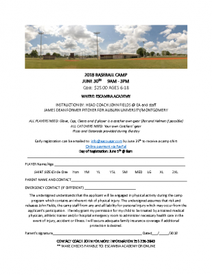 2018 EA Baseball Camp